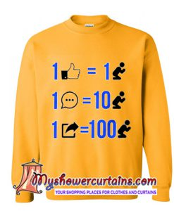 1 like equals 1 prayer 1 comment equals 10 prayers 1 share equals 100 prayers Sweatshirt
