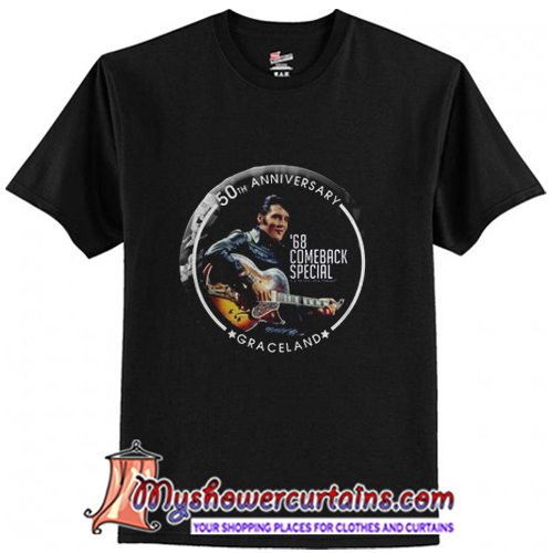 93e8695d 68 Special 50th Anniversary Elvis Black Leather T-Shirt - myshowercurtains