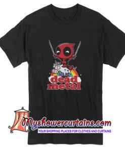 Deadpool Riding Unicorn Metal T Shirt