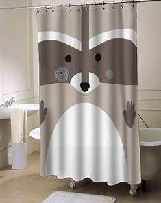 Racoon Brown shower curtain