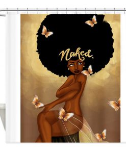 Afro Hair Fashion Girl Have A Bath Naked Shower Curtain (AT)