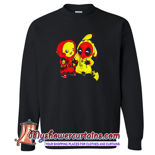 Pikapool Pikachu Pokemon and Deadpool Sweatshirt