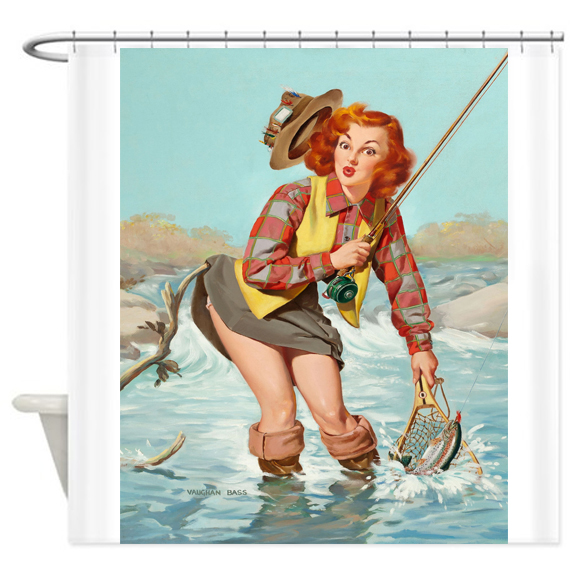 Pin Up Girl Fishing Vintage Poster Shower Curtain Customized AT