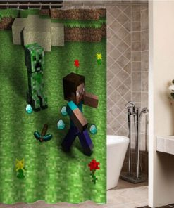 minecraft game parody Custom Shower curtain