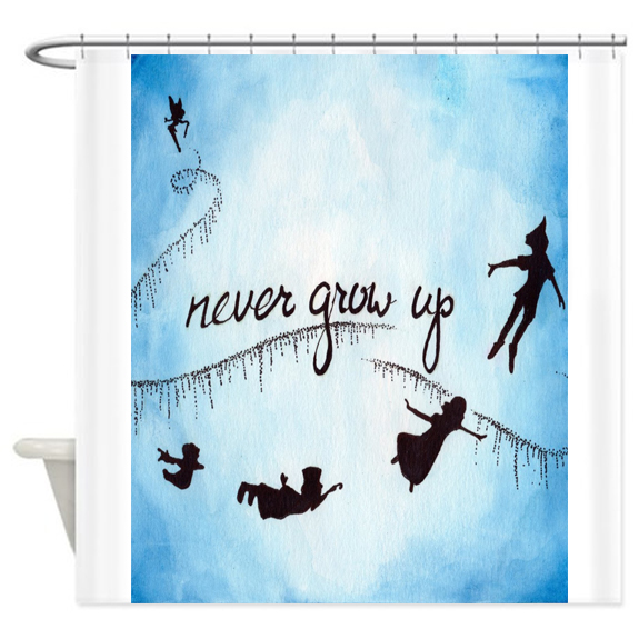 Peter Pan Nevergrowup Shower Curtain AT
