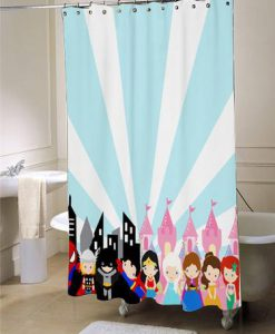 superhero princess shower curtain blue and pink princess shower curtain large