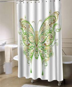 Abstract Floral Butterfly Shower Curtain (AT)