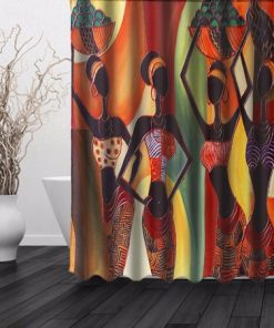 African Woman Waterproof Bathroom Shower Curtain (AT)