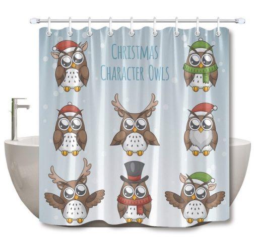 Character Owls Cartoon Shower Curtain At