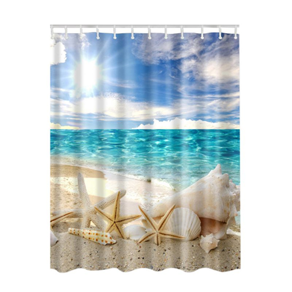Seascape Sea Beach Picture Print Ocean Decor Collection Bathroom Set Fabric Shower Curtain At