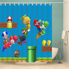 2019 Cartoon Super Mario Bros Shower Curtain (AT)