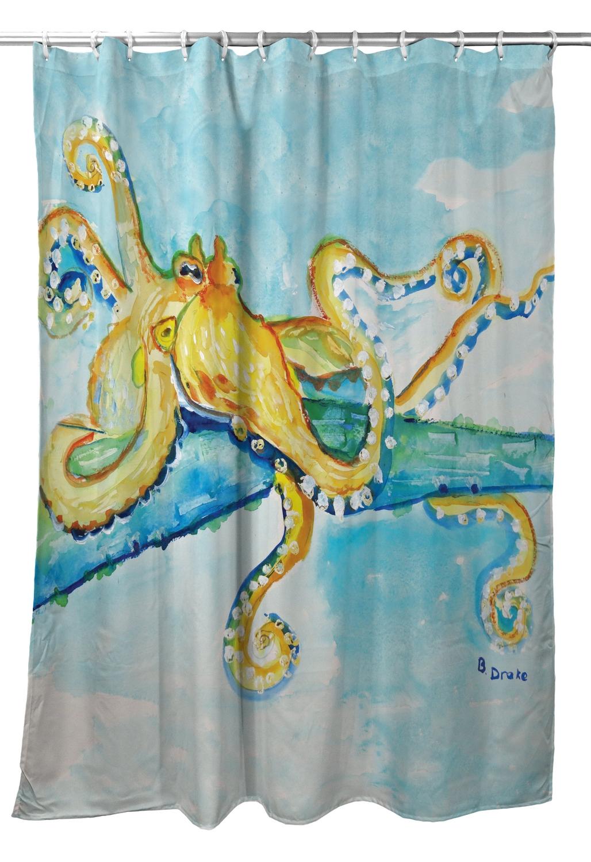 Betsy Drake Gold Octopus Shower Curtain At