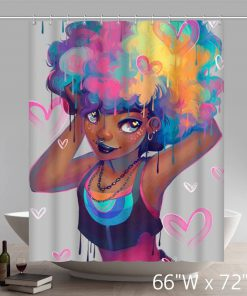 African American Black Women Painting Bath Curtain (AT)