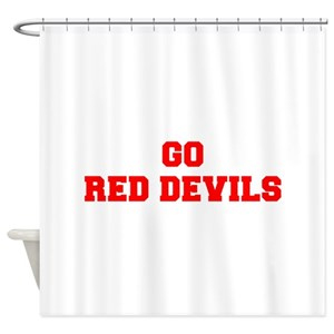 RED DEVILS-Fre red Shower Curtain (AT)