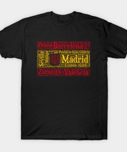 Spain Flag with City Names Word Art T-Shirt (AT)