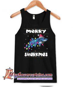 Merry Sharkmas Funny Santa Claus Ugly Christmas Lights Xmas Gift Tank Top SN