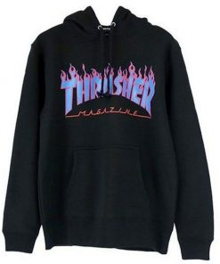 Thrasher Purple blue Flame hoodie RF02