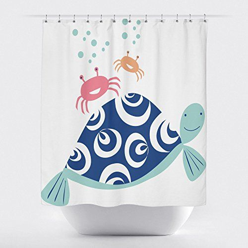 Turtle and Crab Shower Curtain RF02