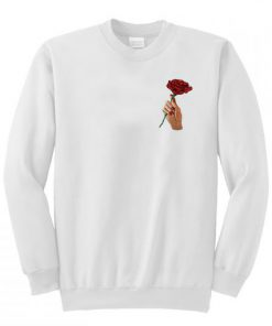 A rose flower in hand Sweatshirt AI