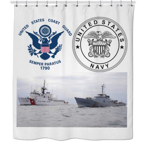 US Navy and US Coast Guard Shower Curtain AI